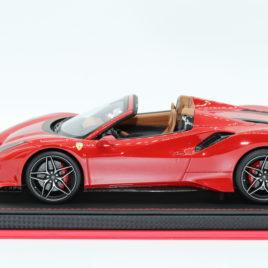 1.18 MR COLLECTION FERRARI 488 PISTA SPIDER Rosso corsa – nero Daytona stripe ( FE026B )