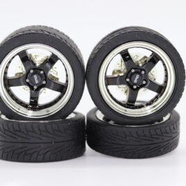RDM 1.18 5 Spoke Wheels with tyres Full set 2 front and 2 rear Black with chrome dish