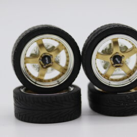 RDM 1.18 5 Spoke Wheels with tyres Full set 2 front and 2 rear Gold with chrome dish
