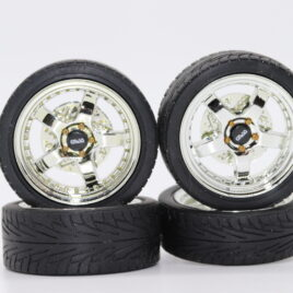RDM 1.18 5 Spoke Wheels with tyres Full set 2 front and 2 rear chrome with chrome dish